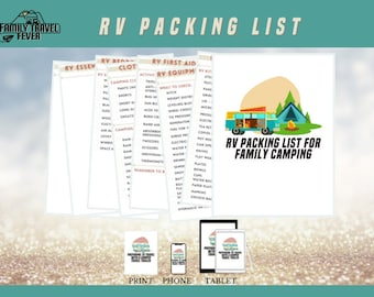 RV Packing List for Family Camping   Printable Planner   RV Digital Planner for Goodnotes, Noteshelf, Zoomnote, PDF