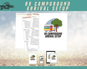 RV Campground Arrival Setup   Camping Shopping List   Printable Planner   RV Digital Planner for Goodnotes, Noteshelf, Zoomnote, PDF