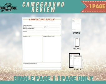 RV Campgrounds Review One Page Printable Travel Journal Page   Printable Page   RV Digital Planner  Page for Goodnotes, Noteshelf, etc