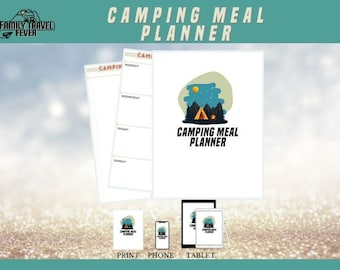 Camping Meal Planner   Week View   Camping Shopping List   Printable Planner   RV Digital Planner for Goodnotes, Noteshelf, Zoomnote, PDF