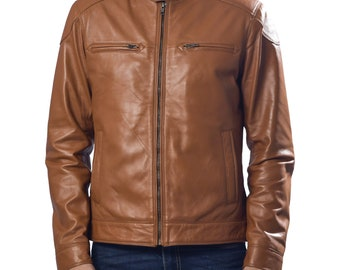 Leather Jacket For Men, Mens Lamb Leather Jacket Coat Winter Bomber Jacket , Leather Anniversary Gifts For Men