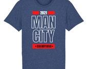 "Man City football Unisex T-shirt 100% organic cotton printed ""Man City champions 2021"" Premier League"