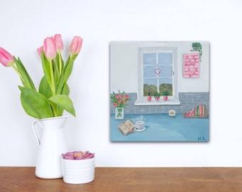 Kitchen wall art / Original small painting / Oil painting on stretched canvas / kitchen wall decor / window sill decor uk 6x6