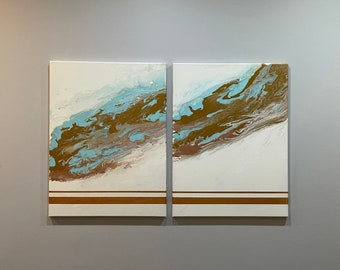 2 Piece Metallic, Blue, White, Rose Gold, and Gold Acrylic on Canvas, Abstract Art, Modern Art, Wall Decor
