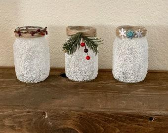 Frost Covered Mason Jars - Christmas Decor - Christmas Gifts