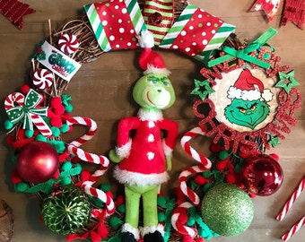 Grinch Christmas Door Wreath with Grinch Plush soft toy