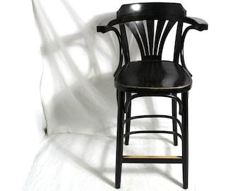 Vintage Bar Stool Designer Bistro Bentwood Bar Stool by GO IN black 70s Vintage Shabby Chic