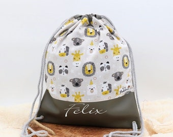 Gym bag children with names • Sports bag toddlers • Cotton fabric with zoo animals