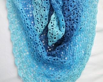 Crochet Shawls, READY TO SHIP, Handmade Gift, Women's Shawl, Scarf, Blue, Accessory, Fall Scarves, Fashion Scarf, Knit Shawl
