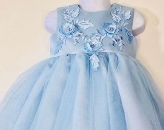 Flower Girl   First Birthday   Special occasion   Formal   Toddler TuTu Fancy Dress in Light Blue with Floral Appliqués 18-24 Months