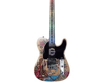 LED effect e-guitar handmade handpainted