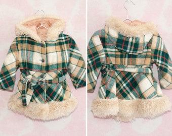 VINTAGE WOOL JACKET - Kids quilted, check vintage jacket with fur lined hood