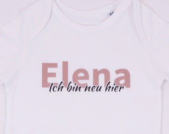Personalized body - with name - I'm new here - Gift for the birth baby or for the announcement / desired name / Pink / Petrol / Metallic