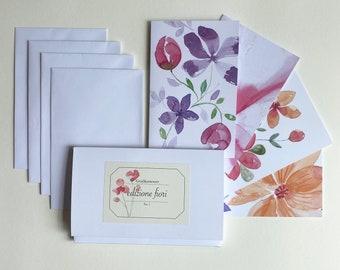 Greeting card set - Edizione Fiori No.1 - 4 greeting cards incl. envelopes