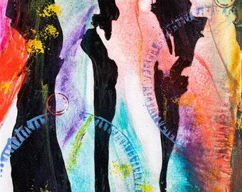 "Original Art, Abstract Art, Folk Art, Acrylic/Water Media, Original Painting ""Wedding Party 1"""