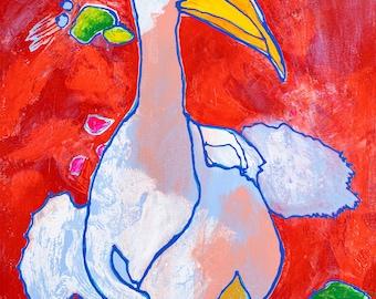 "Original Art, Abstract Art, Folk Art, Acrylic/Water Media, Original Painting ""Swamp Sighting"""