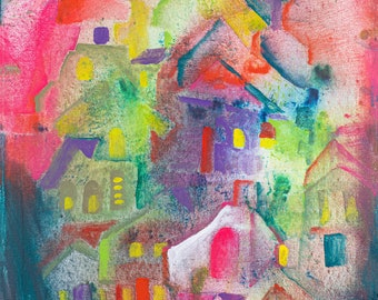 "Original Art, Abstract Art, Folk Art, Acrylic/Water Media, Original Painting ""Mountain Town"""