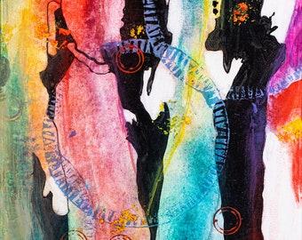 "Original Art, Abstract Art, Folk Art, Acrylic/Water Media, Original Painting ""Wedding Party 2"""