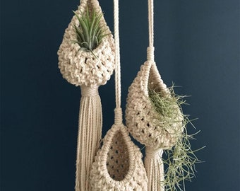 Cotton Macrame Flower Planter for Living Room Balcony Decorations Northern Europe Hanging Basket Pineapple Shape Landscaping