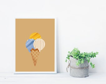 Ice cream printable poster | Ice cream digital print | Download illustration | Ice cream illustration