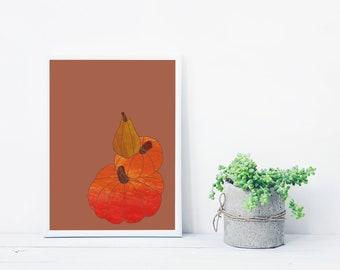 Pumpkin printable poster | Pumpkin digital print | Download illustration | Pumpkin vegetable illustration