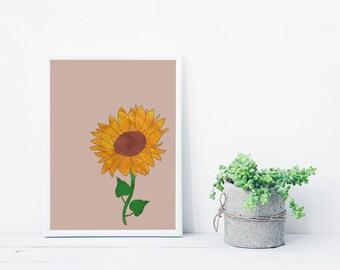 Sunflower printable poster | Sunflower digital print | Download illustration | Sunflower illustration
