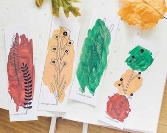 Autumn printable bookmarks | Autumn bookmarks digital print | Download illustration