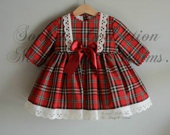 Ready to ship in size 4T/5t.Toddler christmas dress. Special price Girl dress. Handmade in Spain. Top Quality. Christmas. Birthday. Party