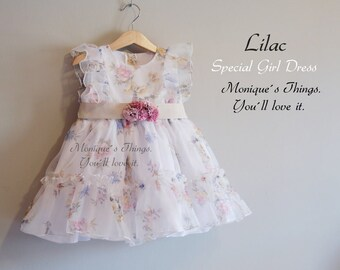 Ready to ship in size 3t. Special price toddler Girl dress. Flowers Outfit. Handmade in Spain Top Quality. Birthday. Party. Spring Shooting