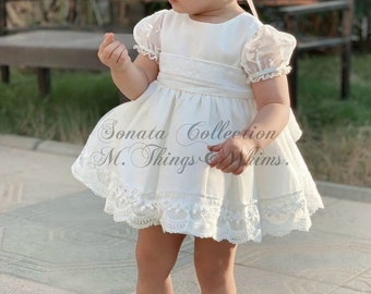 Ready to ship in size 2t. Special price toddler Girl dress. White Outfit. Handmade in Spain Top Quality. Birthday. Party. Spring Shooting
