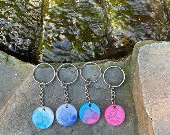 Zodiac resin key rings