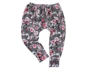 Pants - Grey Pink with Roses, Size 92