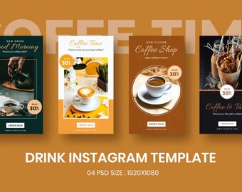 Drink Banner Instagram Stories, Influencer/Content Creators Story, Instagram Business, Real Estate Story Templates