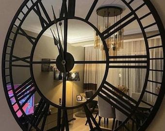 Black Large Wall Clock - Mirror Clock - Real Silver clock - Black colored numerals on a Silver colored mirror