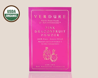 USDA Organic Pink Dragonfruit Powder - Ground Freeze Dried, Natural source of Vitamin C & other Anti-Oxidants
