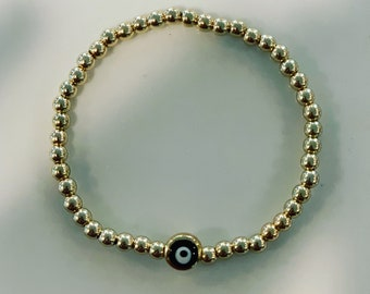 Gold or silver plated bracelet with evil eye