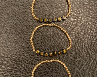 Gold or silver plated beads with University names personalized