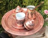 Copper Turkish coffee set l Cup l coffee pot l sugar bowl l Vintage coffee set l Copper coffee set l Coffee sets