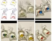fish in a bag earrings, goldfish earrings, fish in water earrings, carnival earrings, novelty earrings, kawaii earrings, quirky earrings