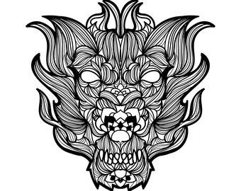 15 Mandala Coloring Pages. 5 Dragons, 5 Devils, 5 Barong. Instant download!!