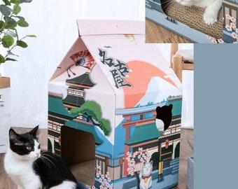 Japanese Style Cat House (New Trending Hot Sale)/ Cat Scratcher House/ Rabbit Kitten Home/ Cardboard Cat Scratcher House/Cat Sleeping House