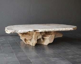 Beautiful Onyx Slab Coffee Table With Teak Root Base Natural Design Coffee Table With Onyx Top And Base Handcrafted From Solid Wood