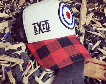 AXED Hat - White Bullseye & Plaid Bill Trucker Style Hat, One-Size (Use Coupon Code for Local Pickup)