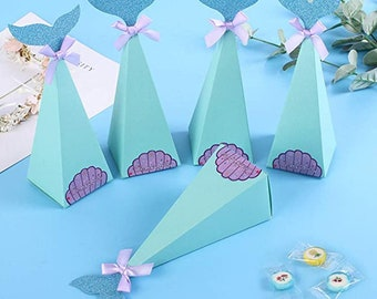 30pcs Mermaid Party Candy Boxes, Cute Kids Birthday or Baby Shower Party Favors, Make Your Party Layout More Exquisite