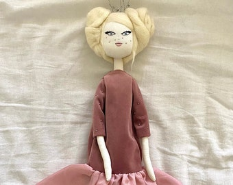 Unique handmade OOAK doll in collectible fabric handmade interior doll