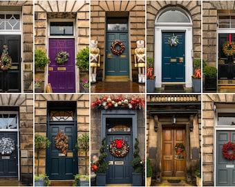 Christmas greeting card - Photos of Edinburgh Georgian doors with Christmas wreaths