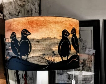 Puffin silhouette lampshade