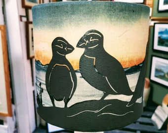 Puffin & sunset lampshade