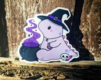 Dino Witch Vinyl Sticker - Cute Die Cut Sticker - Kawaii Sticker - Planner Sticker, Car Vinyl, Journal, Water Bottle, Decorative Sticker