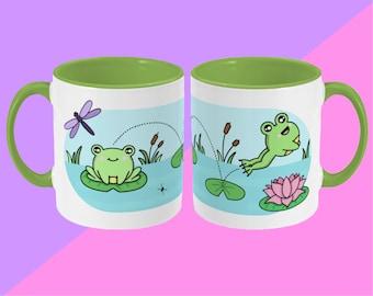 Leap Frog Mug - Cute Illustrated Ceramic Mug - Spooky Halloween - Cute Mug, Kawaii Mug, Gift Mug, Funny Cup, Coffee Mug, Tea Cup